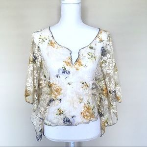 Free People Lace Sheer Floral Blouse